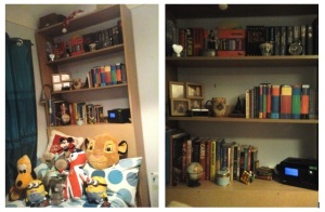 A glimpse at the bookshelf in my bedroom