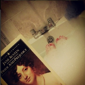 Bubble bath: check! Pride and Prejudice:check!
