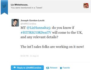 Yes, you read that right, Joseph Gordon Levitt Tweeted me!