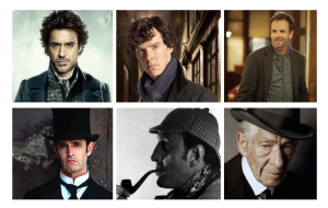 Different actors as Sherlock Holmes clockwise): Robert Downey Jr, Benedict Cumberbatcg, Johnny Lee Miller, Sir Ian McKellan, Basil Rathbone, Rupert Everett
