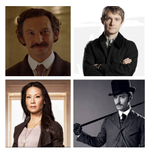 Actors Portraying Dr. Watson clockwise: Ian Hart, Martin Freeman, Jude Law, Lucy Lui