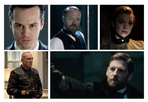 Moriarty: Andrew Scott, Jared Harris, Natalie Dormer; Sebastian Moran: Vinnie Jones, Paul Anderson